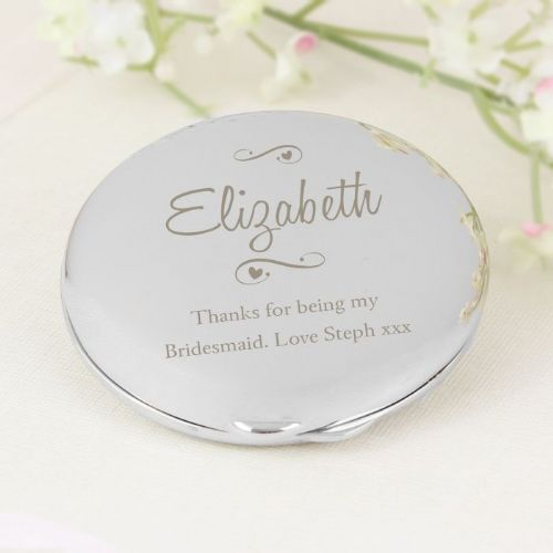 Personalised Any Message Swirls & Hearts Compact Mirror